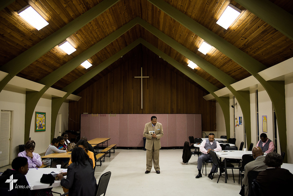 The Rev. Ulmer Marshall conducts bible study at Trinity Lutheran Church on Sunday, April 6, 2014, in Mobile, Ala. LCMS Communications/Erik M. Lunsford