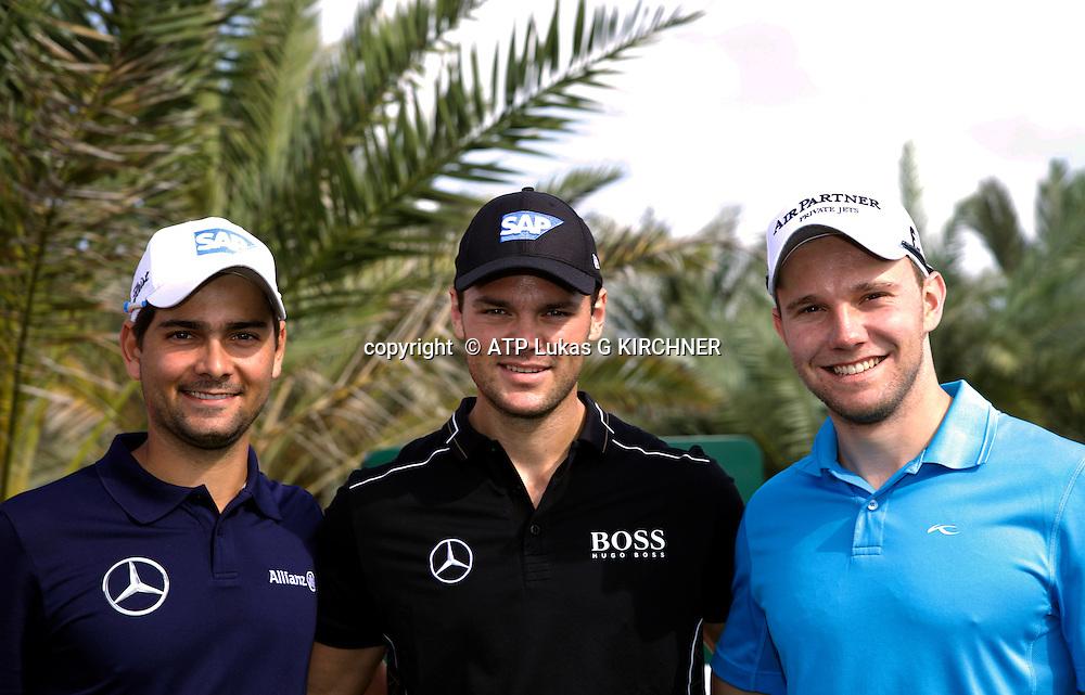 (L-R) Max KIEFFER, Martin KAYMER, Moritz LAMPERT, (GER) Golf Pro's  - <br /> Abu Dhabi HSBC Golf Championship, 15. - 18. January 2015 - fee liable image, copyright &copy; ATP Lukas G KIRCHNER