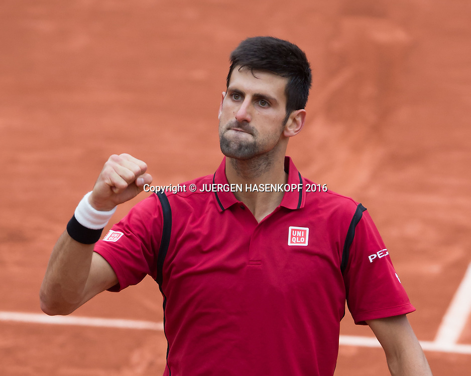 Novak Djokovic (SRB) macht die Faust und jubelt,Jubel,Freude,Emotion,<br /> <br /> Tennis - French Open 2016 - Grand Slam ITF / ATP / WTA -  Roland Garros - Paris -  - France  - 3 June 2016.