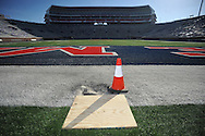 The stubs of the goalposts remain at Vaught-Hemingway Stadium in Oxford, Miss. on Sunday, October 5, 2014. The goalposts were torn down following Ole Miss' 23-17 win over Alabama on Saturday.