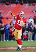 November 12, 2009; San Francisco, CA, USA; San Francisco 49ers quarterback Alex Smith (11) passes the ball during warm ups before the game against the Chicago Bears at Candlestick Park. Mandatory Credit: Kyle Terada-Terada Photo