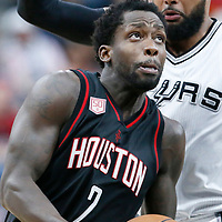 01 May 2017: Houston Rockets guard Patrick Beverley (2) drives past San Antonio Spurs guard Patty Mills (8) during the Houston Rockets 126-99 victory over the San Antonio Spurs, in game 1 of the Western Conference Semi Finals, at the AT&T Center, San Antonio, Texas, USA.