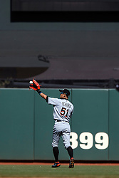 SAN FRANCISCO, CA - APRIL 24: Ichiro Suzuki #51 of the Miami Marlins warms up in center field before the bottom of the ninth inning against the San Francisco Giants at AT&T Park on April 24, 2016 in San Francisco, California.  The Miami Marlins defeated the San Francisco Giants 5-4. (Photo by Jason O. Watson/Getty Images) *** Local Caption *** Ichiro Suzuki