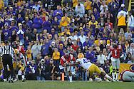 Ole Miss quarterback Barry Brunetti (11) vs. LSU linebacker Kevin Minter (46) at Tiger Stadium in Baton Rouge, La. on Saturday, November 17, 2012.....