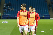 Middlesbrough defender George Friend (3) and Middlesbrough midfielder Stewart Downing (19) warming up during the EFL Sky Bet Championship match between Sheffield Wednesday and Middlesbrough at Hillsborough, Sheffield, England on 19 October 2018.