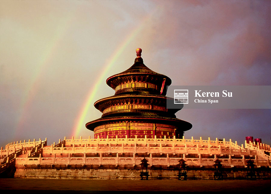 Double rainbow over the Temple of Heaven, Beijing, China