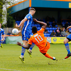 Braintrees Dan Thompson tries to turn the ball towards goal during the Vanorama National League South match between Braintree Town FC and Gloucester City FC at the IronmongeryDirect Stadium, Essex on 28 April 2018. Photo by Matt Bristow.