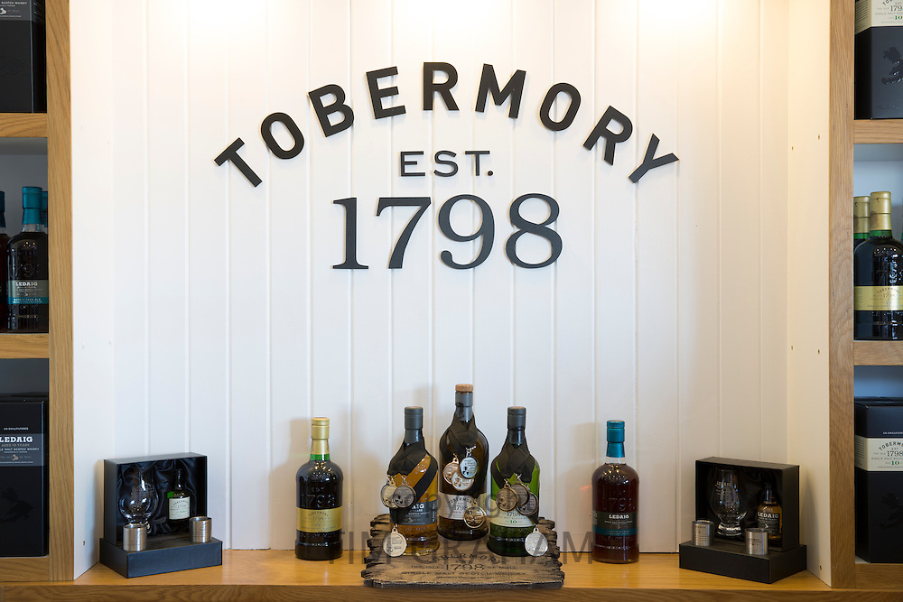 Medal winning single malt Scotch whisky, Ledaig and Tobermory at Tobermory Distillery on the Isle of Mull in the Highlands of Scotland