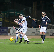Dundee&rsquo;s Craig Wighton holds off Dumbarton&rsquo;s Jon Routledge - Dundee v Dumbarton, William Hill Scottish Cup Fifth Round at Dens Park<br /> <br />  - &copy; David Young - www.davidyoungphoto.co.uk - email: davidyoungphoto@gmail.com
