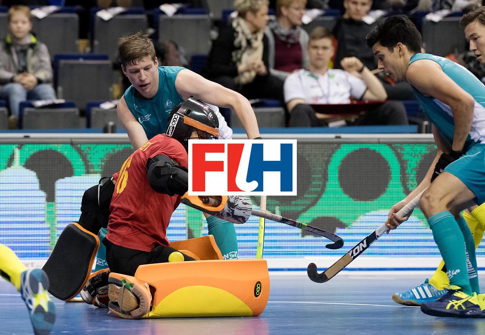 BERLIN - Indoor Hockey World Cup<br /> Men: Australia - Kazakhstan<br /> foto: YELUBAYEV Yerzhan (GK).<br /> WORLDSPORTPICS COPYRIGHT FRANK UIJLENBROEK