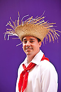 A man dressed in traditional Puerto Rican costume San Sebastian Festival in San Juan, Puerto Rico.