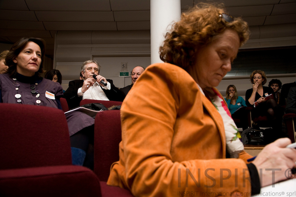 BRUSSELS - BELGIUM - 01 DECEMBER 2009 -- Conference: Online content and creative rights -- From left Marianne Rollet, CISAC, Frank Dostal, Deutscher Textdichter-Verband, and Joerg Evers, Chairman Board of Supervisors, GEMA, listening to the conference. The lady in the foreground is unknown. PHOTO: ERIK LUNTANG