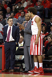 17 January 2015:   Reggie Lynch stops and puts his arm around Torrey Ward to listen to words of encouragement after fouling out of the game during an NCAA MVC (Missouri Valley Conference men's basketball game between the Bradley Braves and the Illinois State Redbirds at Redbird Arena in Normal Illinois