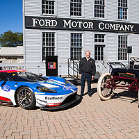Edsel Ford II photographed with 2016 24 Hours of Le Mans winner #68 Ford GT and Henry Ford's first race car Sweepstakes at the 115th Anniversary of Sweepstakes.