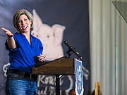 "15 JUNE 2019 - BOONE, IOWA: US Senator JONI ERNST (R-IA) speaks at ""Joni's Roast and Ride,"" an annual motorcycle ride / barbecue fund raiser hosted by Ernst. Ernst, Iowa's junior US Senator, kicked off her re-election campaign during the ""Roast and Ride"", an annual fund raiser and campaign event has she held since originally being elected to the US Senate in 2014.  PHOTO BY JACK KURTZ"