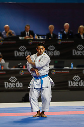 November 10, 2018 - Madrid, Madrid, Spain - Ryo Kiyuna of Japan figth for the gold medal and win the tournament of male Kata tournament during the Finals of Karate World Championship celebrates in Wizink Center, Madrid, Spain, on November 10th, 2018. (Credit Image: © AFP7 via ZUMA Wire)