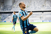 STOCKHOLM, SWEDEN - JULY 22: Jacob Une Larsson of Djurgardens IF celebrates after scoring to 1-1 during the Allsvenskan match between Djurgardens IF and BK Hacken at Tele2 Arena on July 22, 2018 in Stockholm, Sweden. Photo by Nils Petter Nilsson/Ombrello ***BETALBILD***