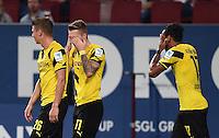 Fussball  1. Bundesliga  Saison 2014/2015  2. Spieltag FC Augsburg - Borussia Dortmund      29.08.2014 JUBEL Dortmund; Augenzu - Jubel, Torschuetze zum 0-1 Marco Reus (Mitte) freut sich ueber seinen Treffer zum 0-1 mit Pierre-Emerick Aubameyang (re) und Lukasz Piszczek (li)