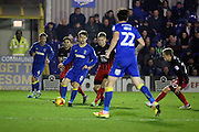 AFC Wimbledon midfielder Jake Reeves (8) holding up the ball during the EFL Sky Bet League 1 match between AFC Wimbledon and Coventry City at the Cherry Red Records Stadium, Kingston, England on 14 February 2017. Photo by Matthew Redman.