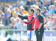 Carlisle United joint caretaker managers Paul Thirlwell (left) and Tony Caig during the Sky Bet League 2 match at Brunton Park, Carlisle<br /> Picture by Greg Kwasnik/Focus Images Ltd +44 7902 021456<br /> 06/09/2014