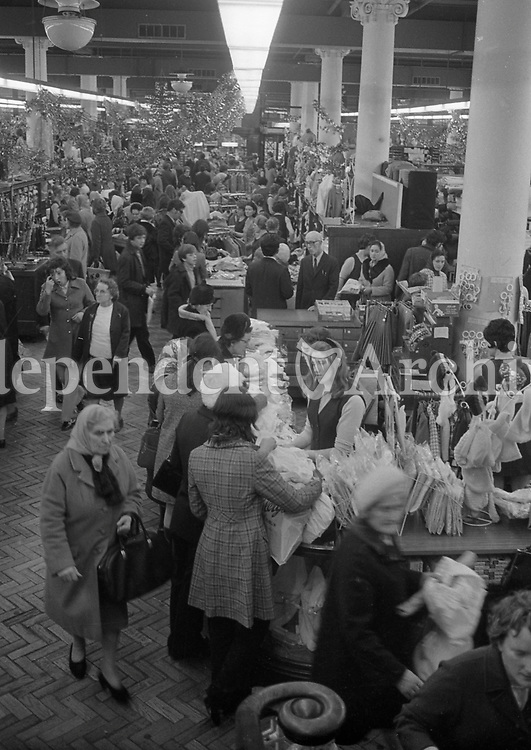 Christmas shopping in a store in Henry St, December 1971.<br />