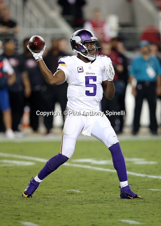 Minnesota Vikings quarterback Teddy Bridgewater (5) throws a third down pass that gets dropped by the receiver in the second quarter during the 2015 NFL week 1 regular season football game against the San Francisco 49ers on Monday, Sept. 14, 2015 in Santa Clara, Calif. The 49ers won the game 20-3. (©Paul Anthony Spinelli)