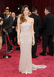 March 2, 2014 - Hollywood, California, U.S. - JESSICA BIEL wearing a strapless Chanel Couture gown and  .Tiffany jewelry, arrives at the 86th Academy Awards held at the Dolby Theater. (Credit Image: © Lisa O'Connor/ZUMA Wire/ZUMAPRESS.com)