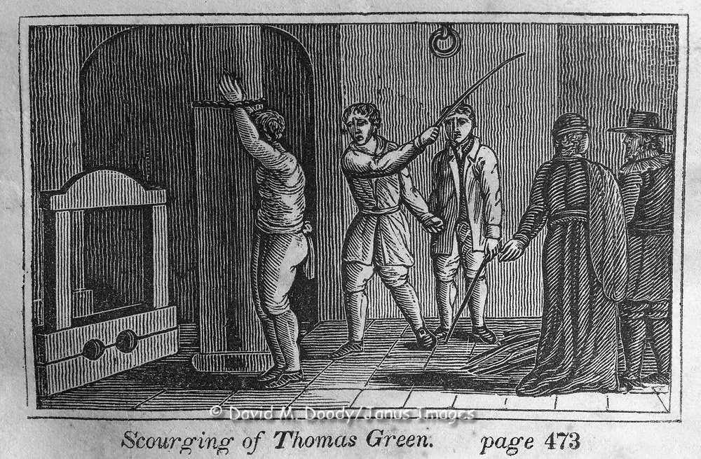 "The scourging of Thomas Green. Protestant vs Catholic violence. Vintage Woodcut Illustration from: ""Book of Martyrs"" Tortures carried out in the name of religion."