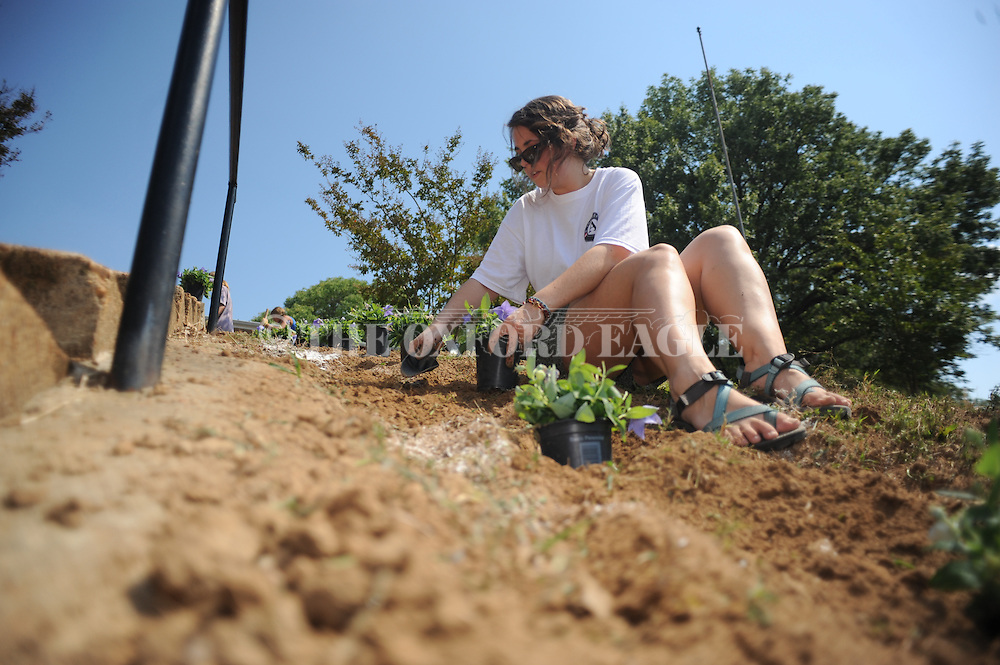 Volunteer Mary Margaret Saulters installs plants at the More Than A Meal location at Stone Center in a 9/11 Day of Service and Remembrance in Oxford, Miss. on Sunday, September 11, 2011. Volunteers helped with several service activities around abating hunger in the Oxford area.