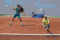 BUDAPEST, April 30, 2018  Dominic Inglot (R) of Britain and Franko Skugor of Croatia compete against Matwe Middelkoop of the Netherlands and Andres Molteni of Argentina during the men's doubles final at the Hungarian Open ATP tournament in Budapest, Hungary on April 29, 2018. Inglot and Skugor won 2-1 and claimed the title. (Credit Image: © Attila  Volgyi/Xinhua via ZUMA Wire)