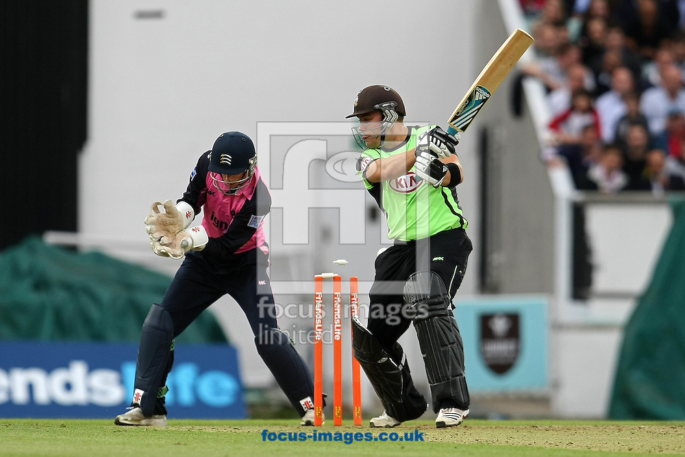 London - Thursday June 23rd 2011: Rory Hamilton Brown of Surrey is bowled by Neil Dexter of Middlesex  during the Friends Life T20 match at The Kia Oval, London. (Pic by Paul Chesterton/Focus Images)
