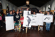 """16 January 2012-Santa Barbara, CA: """"Retelling the Story"""" Pre-March Program and Rally as Santa Barbara honors Dr. Martin Luther King Jr. in De La Guerra Plaza, Santa Barbara, California.  .The Pre-March Program and Rally was held in front of Santa Barbara City Hall followed by a march up State Street to the Arlington Theatre...Arlington Theatre Program:.-""""Master of Ceremonies-Henry Brown.-Invocation, Pastor Louis Watkins.-""""Lift Every Voice and Sing, Shirley Hammonds.-Introduction of City and County Resolutions, Recognition of Local Dignitaries-Paster Wallace K. Shepherd Jr..-Remarks-Congresswoman Lois Capps.-Musical Presentation-Woices of Greater Hope Choir, Angela Robinson, Director; Juan Turner, Musician.-Video Presentation-1950's Montgomery Bus Boycott.-Presentation of Essay & Poetry Contest Winners (Ages 6-12), Sojourner Kincaid Rolle and Anais Borg-Marks.-Dance Performance-Zahra Russell.-Video Presentation-1960's Freedom Rides.-Remembrances of Wallace K. Shepherd, Sr. with R.J. Moten.-Video Presentation-Northern Cities Erupt.-""""Ain't Nobody Gonna Turn Me Around"""", """"How I Got Over"""", Visions of Hope Choir-Tiffany Graves, Director, Cornelius Florence Music..-Dance Performance-Santa Barbara Dance Institue, Rosalina Macisco, Director .-Presentation of Essay and Poetry Contest Winners(Ages 13-18) Sojourner Kincaid Rolle,  Anais Borg-Marks and & Alan Goff.-""""I Know Where I've Been"""" from the musical HairSpray, Cecelia Gandy and John Douglas, Musical Director .-Benediction, Pastor Hillary Chrisley.Following the program there was a """"Free Community Lunch"""", at First United Methodist Church in Santa Barbara, CA..Photos by Rod Rolle"""