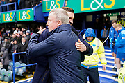 PortsmouthManager Kenny Jackett greets Shrewsbury TownmanagerSam Ricketts during the EFL Sky Bet League 1 match between Portsmouth and Shrewsbury Town at Fratton Park, Portsmouth, England on 15 February 2020.