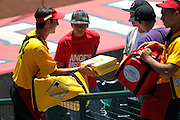 ANAHEIM, CA - JULY 10:  A pizza vendor sells his wares during the Los Angeles Angels of Anaheim game against the Seattle Mariners on July 10, 2011 at Angel Stadium in Anaheim, California. (Photo by Paul Spinelli/MLB Photos via Getty Images)