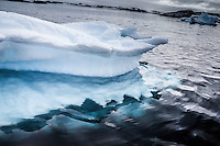 Stunning clear waters of Antarctica allow us to see the depth of icebergs.
