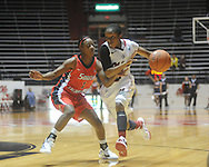 Ole Miss' Valencia McFarland (3) vs. South Alabama's Sarda Peterson (1) in women's college basketball in Oxford, Miss. on Friday, November 18, 2011.