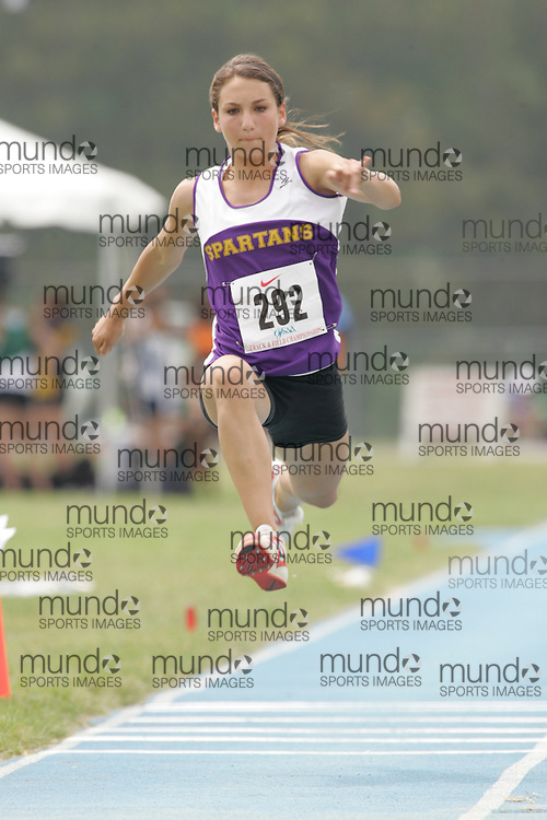 Katie Flemington competing in the midget girls triple jump final at the 2007 OFSAA Ontario High School Track and Field Championships in Ottawa.