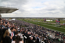 © Licensed to London News Pictures. 09/04/2016. Liverpool, UK. Huge crowds turn out on Grand National day of the Grand National 2016 at Aintree Racecourse near Liverpool. The race, which was first run in 1839, is the most valuable jump race in Europe. Photo credit : Ian Hinchliffe/LNP