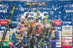 Trophy ceremony during Ladies team sprint race at FIS Cross Country World Cup Planica 2019, on December 22, 2019 at Planica, Slovenia. Photo By Peter Podobnik / Sportida