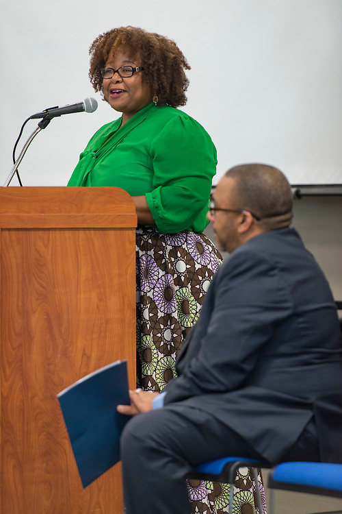 Samantha Brooks comments during a ribbon cutting ceremony at South Early College High School, October 8, 2016.