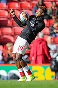 Charlton Athletic midfielder Chuks Aneke (10) warms up prior to the EFL Sky Bet Championship match between Charlton Athletic and Preston North End at The Valley, London, England on 3 November 2019.