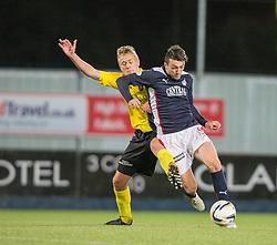Livingston Jason Talbot and Falkirk's David Smith.<br /> Falkirk 0 v 0  Livingston, Scottish Championship game played 21/10/2014 at The Falkirk Stadium.