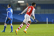 Arsenal's Chuba Akpom celebrates his goal during the Barclays U21 Premier League match between Brighton U21 and Arsenal U21 at the American Express Community Stadium, Brighton and Hove, England on 1 December 2014.