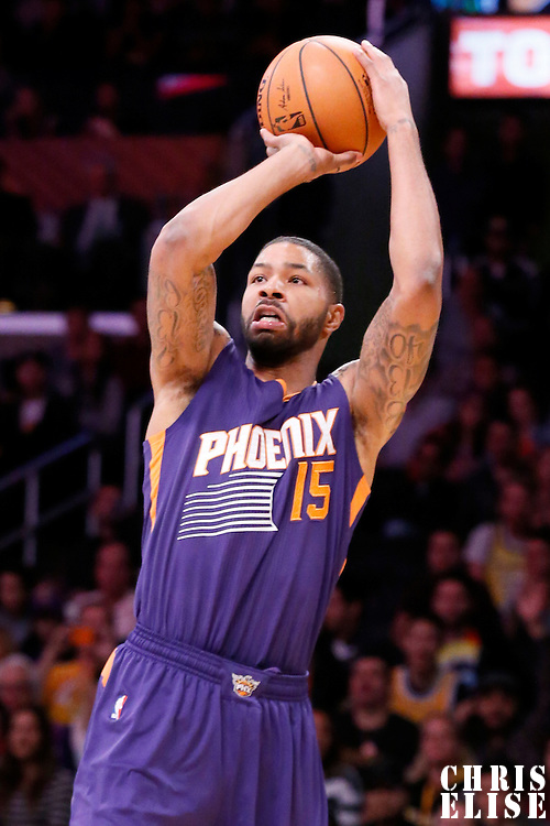 04 November 2014: Phoenix Suns forward Marcus Morris (15) takes a jump shot during the Phoenix Suns 112-106 victory over the Los Angeles Lakers, at the Staples Center, Los Angeles, California, USA.
