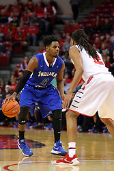 17 February 2016: Devonte Brown works to try and get past Tony Wills(12) during the Illinois State Redbirds v Indiana State Sycamores at Redbird Arena in Normal Illinois (Photo by Alan Look)