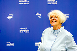 Pictured: Liz Lochhead,  a Scottish poet, playwright, translator and broadcaster. Between 2011 and 2016 she was the Makar, or National Poet of Scotland<br /> Book fanatics headed to Charlotte Square in Edinburgh which is the hub of the international Book Festival to meet the authors and also to meet up with fellow fans of the printed word.<br /> <br /> <br /> Ger Harley | EEm 22 August 2017