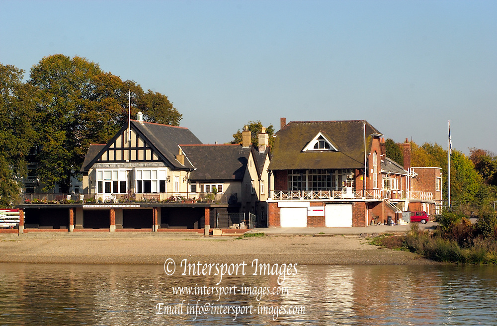 21/10/2003 Chiswick Boat Houses. Mortlake Anglian Boat Club [left] and Quintin Boat Club [right] - Hartington Road - Chiswick - London  W4.  [Mandatory Credit: Peter Spurrier / Intersport Images]