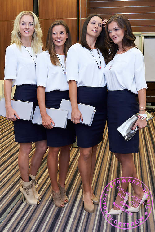 (L-R) Urszula Radwanska and Alicja Rosolska and Klaudia Jans Ignacik and Agnieszka Radwanska during official dinner two days before the Fed Cup / World Group 1st round tennis match between Poland and Russia at Holiday Inn on February 5, 2015 in Cracow, Poland.<br /> <br /> Poland, Cracow, February 5, 2015<br /> <br /> Picture also available in RAW (NEF) or TIFF format on special request.<br /> <br /> For editorial use only. Any commercial or promotional use requires permission.<br /> <br /> Adam Nurkiewicz declares that he has no rights to the image of people at the photographs of his authorship.<br /> <br /> Mandatory credit:<br /> Photo by &copy; Adam Nurkiewicz / Mediasport