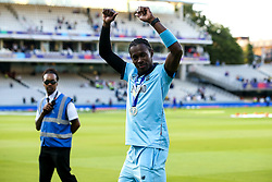 Jofra Archer of England celebrates winning the ICC Cricket World Cup - Mandatory by-line: Robbie Stephenson/JMP - 14/07/2019 - CRICKET - Lords - London, England - England v New Zealand - ICC Cricket World Cup 2019 - Final