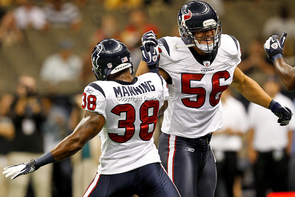 September 25, 2011; New Orleans, LA, USA; Houston Texans linebacker Brian Cushing (56) and safety Danieal Manning (38) prior to kickoff of a game against the New Orleans Saints at the Louisiana Superdome. Mandatory Credit: Derick E. Hingle